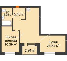2 комнатная квартира 47,08 м² в ЖК Квартал на Московском, дом Альфа - планировка