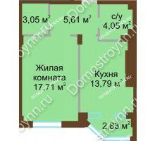 1 комнатная квартира 44,21 м² в ЖК Сердце Нижнего, дом № 36 - планировка
