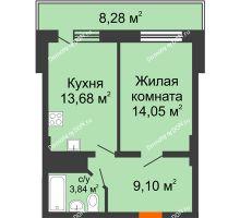 1 комнатная квартира 43,15 м² в ЖК Встреча, дом № 1 - планировка