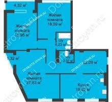 3 комнатная квартира 115,8 м² в ЖК Воскресенская слобода, дом №1 - планировка