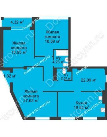 3 комнатная квартира 115,8 м² в ЖК Воскресенская слобода, дом №1