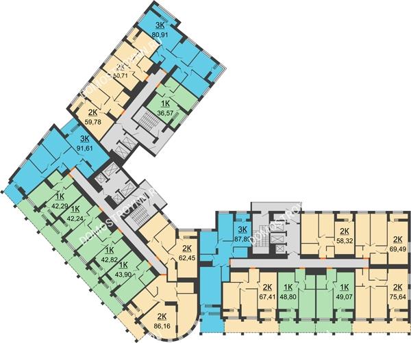 Планировка 3 этажа в доме № 1 в ЖК Дом на Набережной