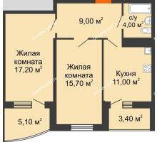 2 комнатная квартира 61,2 м² в ЖК Дружный, дом Литер 2.3 - планировка