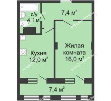 1 комнатная квартира 43,2 м² в ЖК Планетарий, дом № 7 - планировка