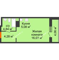 Студия 34,29 м² в ЖК Рассвет, дом № 6 - планировка