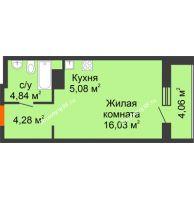 Студия 34,29 м² в ЖК Рассвет, дом № 7 - планировка