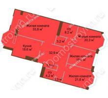 4 комнатная квартира 164,7 м², Жилой дом: ул. Минина д. 1а - планировка