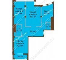 3 комнатная квартира 118,1 м², ЖК Бояр Палас - планировка
