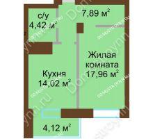 1 комнатная квартира 48,41 м² - ЖК Подкова Приокская
