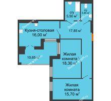 3 комнатная квартира 87,45 м² в ЖК Симфония, дом 3 этап - планировка