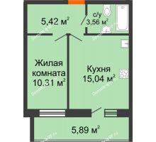 1 комнатная квартира 37,28 м² в ЖК Южный бульвар, дом №14 - планировка