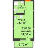 Студия 21,46 м² в ЖК Свобода, дом №2 - планировка