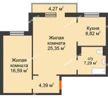 2 комнатная квартира 63,02 м² в ЖК Плодово-Ягодный, дом № 1 - планировка