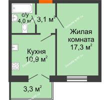 1 комнатная квартира 36,3 м² в ЖК Волна, дом 2 очередь (секция 3-2) - планировка