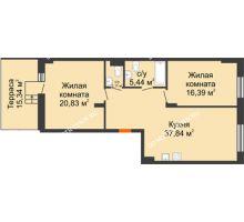 2 комнатная квартира 87,21 м², ЖК Шаляпин - планировка