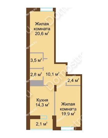 2 комнатная квартира 75,7 м² в ЖК Монолит, дом № 89, корп. 1, 2