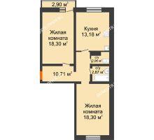 2 комнатная квартира 65,42 м² в ЖК Корабли, дом № 9-2 - планировка