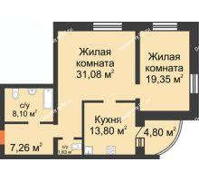 2 комнатная квартира 86,02 м², ЖК На Владимирской - планировка
