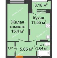 1 комнатная квартира 39,81 м² в ЖК Суворов-Сити, дом 2 очередь секция 1-5 - планировка