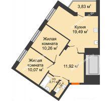 2 комнатная квартира 60,14 м² - ЖК Пушкин