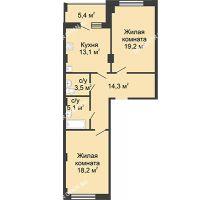 2 комнатная квартира 76,4 м² в ЖК Цветы, дом № 26 - планировка