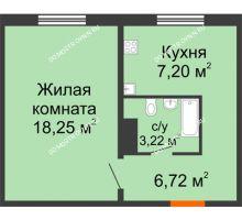 1 комнатная квартира 35,39 м² в ЖК Торпедо, дом № 17 - планировка
