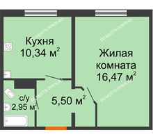 1 комнатная квартира 35,26 м² в ЖК Торпедо, дом № 19 - планировка