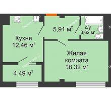 1 комнатная квартира 44,8 м² в ЖК Малахит, дом № 1 - планировка