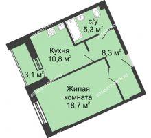 1 комнатная квартира 46,1 м² в ЖК Монолит, дом № 89, корп. 3 - планировка