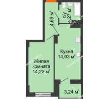 1 комнатная квартира 38,83 м² в ЖК Аврора, дом № 3 - планировка