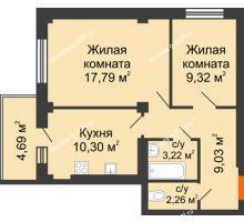 2 комнатная квартира 53,32 м², ЖК Военвед-Парк - планировка