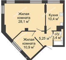 2 комнатная квартира 58,05 м², Жилой дом: ул. Сазанова, д. 15 - планировка