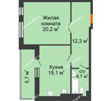 1 комнатная квартира 59 м² в ЖК Славутич, дом ГП-1 - планировка