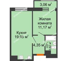 1 комнатная квартира 42,15 м² в ЖК Город времени, дом № 18