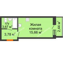 Студия 24,33 м² в ЖК АВИА, дом № 2 - планировка