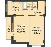 2 комнатная квартира 60,5 м² в ЖК Парк Островского 2, дом № 1 - планировка