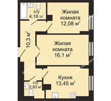 2 комнатная квартира 59,04 м², ЖК Гелиос - планировка