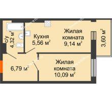 2 комнатная квартира 39,5 м² в ЖК Днепровская Роща, дом № 1 - планировка