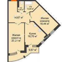 2 комнатная квартира 80,57 м² в ЖК Краснодар Сити, дом Литер 3 - планировка