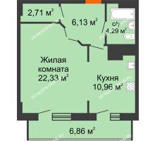 1 комнатная квартира 53,28 м² в ЖК Покровский, дом № 1
