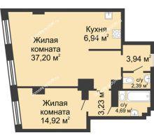 2 комнатная квартира 73,31 м², ЖК Гранд Панорама - планировка