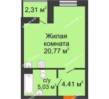 Студия 31,37 м² в ЖК Ютта, дом ГП-2 - планировка