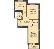 2 комнатная квартира 64,95 м² в ЖК Корица, дом № 1 - планировка
