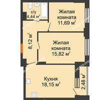 2 комнатная квартира 59,58 м², ЖК КМ Флагман - планировка