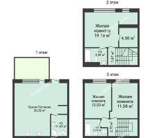 4 комнатная квартира 105 м² в КП Баден-Баден, дом № 31 (от 73 до 105 м2) - планировка