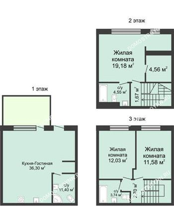 4 комнатная квартира 105 м² в КП Баден-Баден, дом № 31 (от 73 до 105 м2)