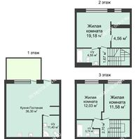 4 комнатный таунхаус 105 м² в КП Баден-Баден, дом № 26 (от 73 до 105 м2) - планировка
