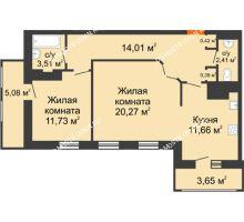 2 комнатная квартира 73,13 м² в ЖК Покровский, дом № 1 - планировка