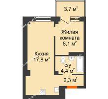 2 комнатная квартира 33,7 м² в ЖК Серебряный, дом Квартал 1, дом №3 - планировка