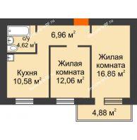 2 комнатная квартира 52,54 м², ЖК Новая Жизнь - планировка